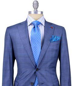 Isaia Grey Glen Plaid with Blue Windowpane Suit