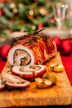 Prosciutto-Wrapped Pork Loin with Roasted Apples.