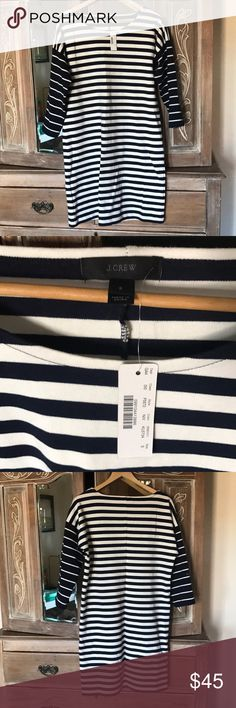 NWT Jcrew Ponte knit dress New with tags!  Website says: An easy-T-shirt dress in colorblock stripes and ponte knit fabric (a customer favorite, thanks to its thick, stretchy, flattering ...size runs a little big. Navy J. Crew Dresses Long Sleeve