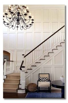 Blog post has great ideas for molding on walls to give them more texture - less cluttered looking than a gallery wall.