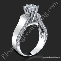 Engagement Rings BloomingBeautyRing.com #TiffanySolitaire #TiffanyStyleDiamondRing #TiffanyEngagementRing #PaveDiamonds #PaveDiamondRing #UniqueEngagementRing