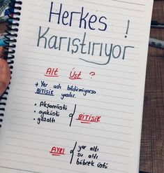 Learn Turkish, Language Study, School Notes, Study Notes, Study Tips, Creative Writing, Motto, Sentences, Back To School