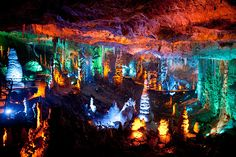 Beit Shemesh, Israel: Sorek stalactites cave illuminated with a new lighting systemPhotograph: Uriel Sinai/Getty Images