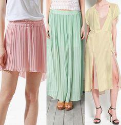 Faldas plisadas. Úsalas tanto en colores energizantes como en colores pastel, cortas o largas.