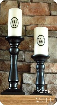 Candles made with vinyl cutouts from the Cricut--I would buy the battery candles so they last forever
