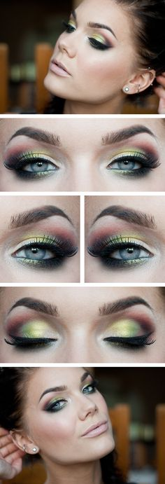 """Today's Look : """"FLY"""" -Linda Hallberg (a tropical array of colors... greens, corals, purple? grays perfectly paired with nude lip) 06/08/13"""