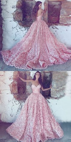 A-Line Sweetheart Sweep Train Pink Lace Prom Dress, gorgeous pink lace long prom dresses, amazing sweetheart long evening dresses #princessdress #amazingdress