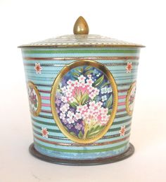 Vintage Tin Box Biscuit Candy Tin Summer Flowers by HouseofLucien