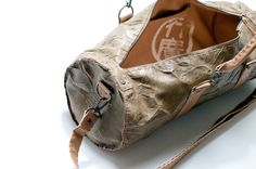 Olive and tan duffle / barrel tote