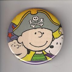 Charlie Brown Pirate Halloween Snoopy Lucy, Pinback Button  Inch