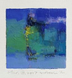 "Mar. 18, 2017 9 cm x 9 cm (app. 4"" x 4"") oil on canvas  © 2017 Hiroshi Matsumoto"