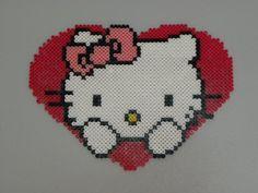 Hello Kitty heart hama beads by perleshama76