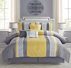 modern 7 piece bedding yellow grey white emboidered and pin tuck queen comforter set