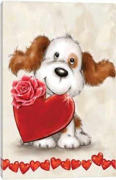 Canvas Artwork, Canvas Frame, Canvas Art Prints, Flower Pictures, Cute Pictures, Heart Canvas, Cute Clipart, Christmas Dog, Birthday Greeting Cards