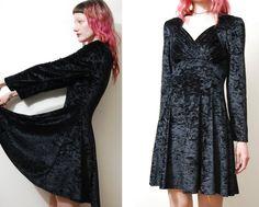 90s Vintage VELVET Dress Black Crushed Velvet Skater flare Tight Mini Long-Sleeve Grunge Goth Witch 1990s vtg XS