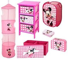 Minnie Mouse 6 Piece Bedroom Package, Drawer Unit, Bench, Trap and More!: