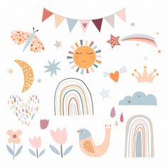Ciel Pastel, Cartoon Clouds, Cute Poster, Hello Spring, Kids Prints, Wall Art Sets, Cute Illustration, Cute Stickers, Pastel Colors