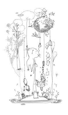 Mooli : Tous les messages sur Mooli - Page 5 - les chosettes Art And Illustration, Illustrations, Doodle Drawings, Doodle Art, Tatoo Travel, Art Du Croquis, Cat Art, Art Sketches, Painting & Drawing