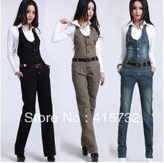 Envío gratis mamelucos Womens Jumpsuit 2015 moda trajes Jeans mujer Playsuit ol pantalones rectos más tamaño XL pantalones de algodón