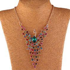 Women's Colorful Crystal Rhinestone Bead Peacock Pendant Y Collar Bib Necklace #Handmade #Chain