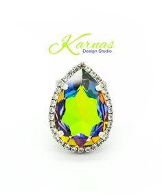 GREEN SPHINX 30x20mm Pear Crystal Halo by KarnasDesignStudio