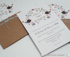 Convite de casamento simples e alegre com tema de passarinhos
