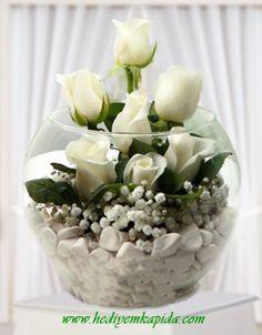 Balıkesir Çiçek Beyaz Gül Aranjman