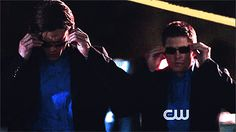 """Gif: Doing the """"CSI: Miami"""" bit in TVLand. I laughed so hard because I'm a fan of SCI:Miami too."""