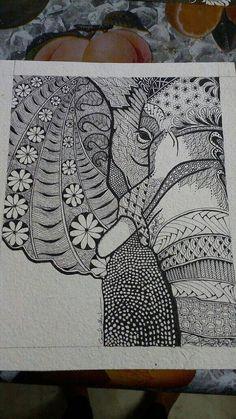 Zentangle elephant or giraffe on thick handmade by cottonsandsilks