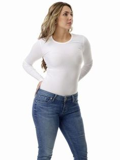 f0eed2c743419 Womens Microfiber Compression Crew Neck Top Long Sleeve