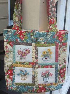 Potted Goodness Tote Bag pdf pattern by moorepatchwork on Etsy, $8.00