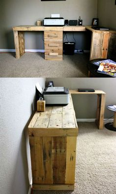 Sectional Pallet Computer Desk - 20 Recycled Pallet Ideas - DIY Furniture Projects   101 Pallets