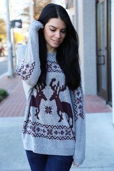 Deer To Me Sweater {Maroon}
