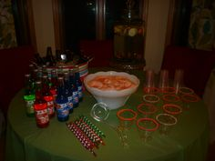 Emma's 13th Birthday Party - Soda Pop, Punch, Fruit water and cups dipped in sprinkles - Girl Teen Tween