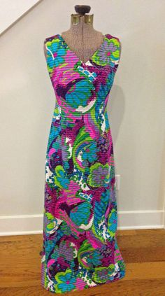 GROOVY 1970s Hawaiian Psychedelic Maxi Dress S/M by BatCityVintage, $65.00