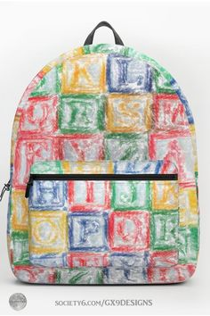 * Children's Blocks Backpack by #Gravityx9 at Society6 * Great for preschool teachers , day care faculty and for little kids, too. * This design is also available on fashion, home decor, prints and more. *  * school back to school supplies * back to school shopping * backpacks for kids * backpacks for school supplies * school supplies high school * backpack for adults * backpacks for little kids * #Backtoschool #backpack #schoolbag #blocks #kidsblocks #childrensblocks #preschool #teacher… Pre School, School Bags, High School, Back To School Backpacks, Kids Backpacks, Preschool Teachers, Kids Blocks, Back To School Supplies, D Craft