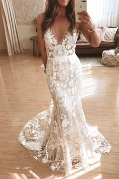 Did you ladies know our Stevie dress now comes in BONE? V Neck Backless Lace Mermaid Cheap Wedding Dresses Online, Cheap Bridal Dresses Open Back Prom Dresses, Open Back Wedding Dress, V Neck Wedding Dress, Long Prom Gowns, Boho Wedding Dress, Mermaid Wedding, Lace Mermaid, Backless Wedding, Gown Wedding