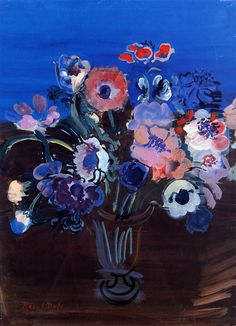 Anemones ~ Raoul Dufy ~ French Fauvist painter ~ He developed a colorful, decorative style that became fashionable for designs of ceramics and textiles, as well as decorative schemes for public buildings. He is noted for scenes of open-air social events. Raoul Dufy, Art Floral, Art Fauvisme, Maurice De Vlaminck, Georges Braque, Art Et Illustration, Henri Matisse, Art Design, Flower Art