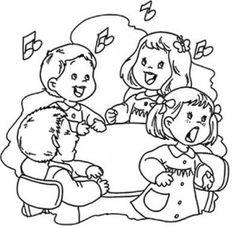 Imagen para colorear de niños cantando