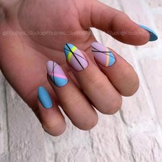 Make an original manicure for Valentine's Day - My Nails Fancy Nails, Pretty Nails, My Nails, Lines On Nails, Geometric Nail Art, Fire Nails, Minimalist Nails, Best Acrylic Nails, Dream Nails