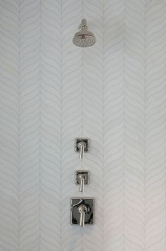 pretty, pretty tile Master Bathroom with feathered herringbone tile // San Francisco Decorator Showcase // Tineke Triggs White Bathroom Tiles, Small Bathroom, Bathroom Ideas, Bathroom Styling, White Tile Shower, Bathroom Hacks, Concrete Bathroom, White Bathrooms, Shower Bathroom