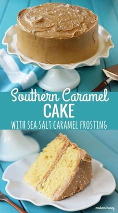 Southern Caramel Cake with Sea Salt Caramel Frosting. A fluffy 5-star rated Yellow Cake with a Homemade Salted Caramel Frosting. www.modernhoney.com
