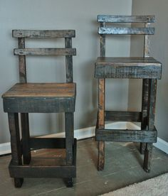 Good idea, could just use 2x4s. Pallet Wood Bar Stool with Back by UpcycledWoodworks on Etsy, $75.00