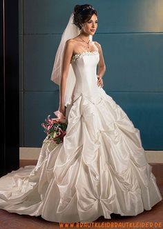 Schönes trägerlos Brautkleid für Prinzessin aus Taft online kaufen