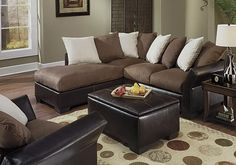 Contemporary Microfiber Sectional Sofa/Couch Brown, Beige and Black
