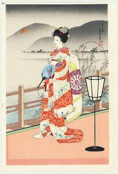 Original Sadanobu Hasegawa III (1881 - 1963) |  Japanese Woodblock Print  Maiko in Summer, circa 1950s