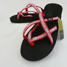 2f7034804 Teva Mush Olowahu Flip Flops Sandals Women s 7 Thongs Isla Blue Red White   Teva