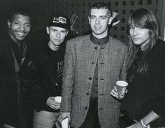 "hisheadsocool: ""Young MC, Chris Lowe & Neil Tennant (Pet Shop Boys), Axl Rose. 1991 """