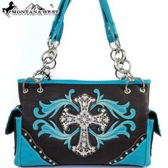 $43.99Amazon.com: Montana West Western Cow Girl Cross Rhinestone Gemstone Studded Embroidered Chain Shoulder Handbag Purse in Turquoise Blue and Coffee: Clothing