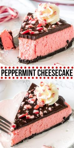 This creamy peppermint cheesecake has an Oreo cookie crust and chocolate ganache topping. The texture is smooth and velvety without being too dense, and the flavor is a delicious creamy peppermint that's perfect for the holidays. from Just So Tasty Brownie Desserts, Köstliche Desserts, Holiday Desserts, Delicious Desserts, Holiday Recipes, Thanksgiving Desserts, Dinner Recipes, Food Deserts, Thanksgiving Sides